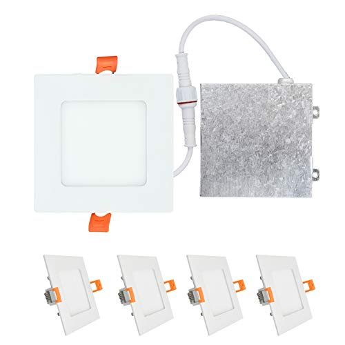 OSTWIN (4 Pack) 4 inch 9W (45 Watt Repl.) IC Rated LED Recessed Low Profile Slim Square Panel Light with Junction Box, Dimmable, 4000K Bright Light 630 Lm. No Can ()