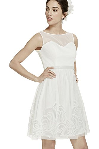 Short Mesh Wedding Dress with Illusion