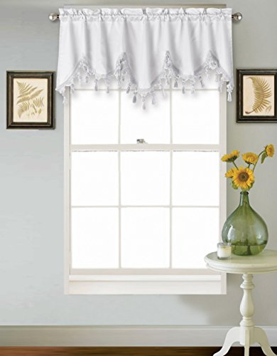 Treatments Window Swags (GorgeousHomeLinen (WAVE) 1 Elegant Faux Silk Rod Pocket Swag Waterfall Ascot Dressing Valance with Tassels, 55