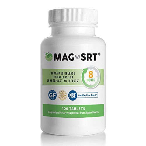 Jigsaw Magnesium w/SRT - Premium, Organic, Slow Release Magnesium Supplement - Active, Bioavailable Magnesium Malate Tablets With B-Vitamin Co-Factors, 120 tablets Magnesium Malate 120 Tabs