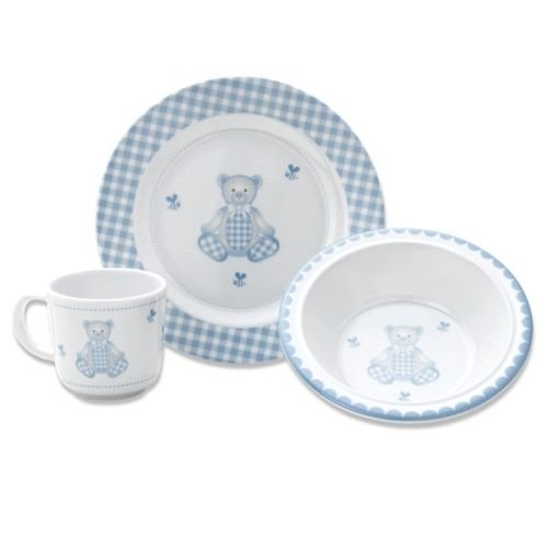 Gingham Bear 3-Piece Dinnerware Set