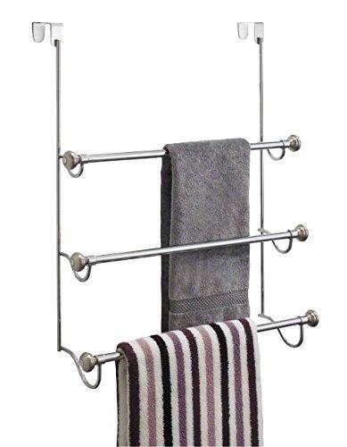 mDesign Elegante toallero sin taladro - Práctico toallero de puerta con tres barras para colgar toallas - Secatoallas de acero inoxidable - Color: plateado: ...