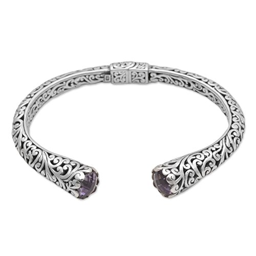 Spiral Silver Sterling Bracelet (NOVICA Amethyst .925 Sterling Silver Cuff Hinged Balinese Bracelet 'Spiral Engagement')