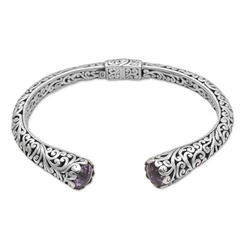 Bracelet Silver Spiral Sterling (NOVICA Amethyst .925 Sterling Silver Cuff Bracelet 'Spiral Engagement')