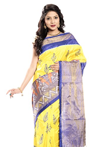 Mandakini — Indian Women's Pochampally - Handloom - Ikat Pure Silk Saree (Yellow ) (MK362) by Mandakini (Image #1)