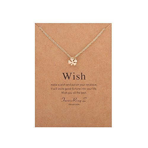 ForeveRing Z Message Card Wish Four Leaf Clover Necklace Classic Choker Necklace