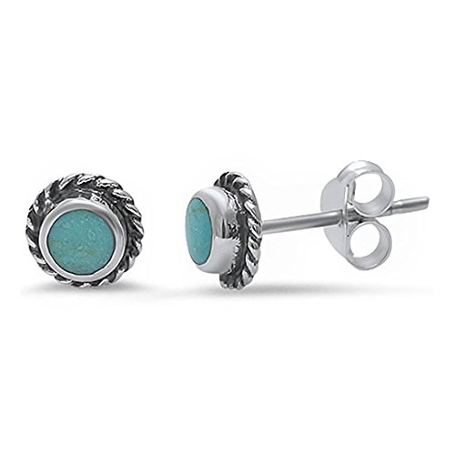 - Twisted Rope Design Tiny Stud Post Earrings Round Simulated Blue Turquoise 925 Sterling Silver