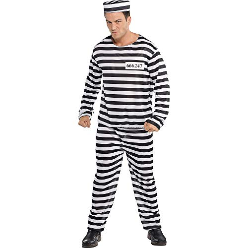 AMSCAN Jail Bird Convict Prisoner Halloween Costume for Men, Standard, with Included Accessories -