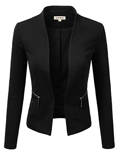 Doublju Womens Plus Size Classic Collarless Open Front Blazer Jacket