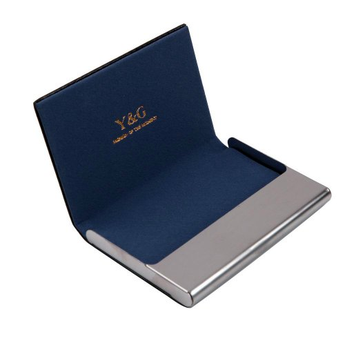Blue leather business card holder business men Black Stainl?ess Steel Y&G leather card case with gift box CC1006  Blue