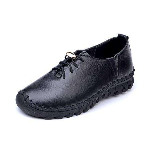 FLYRCX Bas de Plate-Forme en Cuir Fait à la Main Main Main avec des Chaussures Simples pour Femmes Fond Plat Fond Souple Confortable Chaussures antidérapantes Chaussures de Travail 39 EU|black 7aa4ca