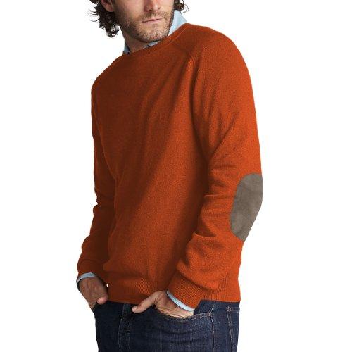 Parisbonbon Men's 100% Cashmere Elbow Pad Sweater Color O...