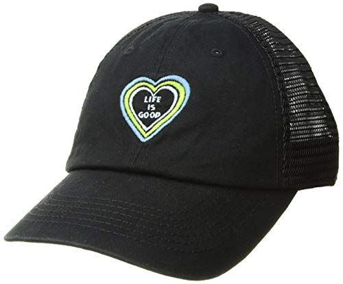 Life is Good Soft Mesh Back Cap Lig Heart Vibes Fishing Hats, Night Black, One Size