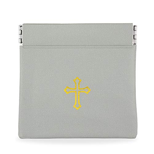 (Gray Vinyl Rosary Case with Spring Closure and Gold Cross Imprint)