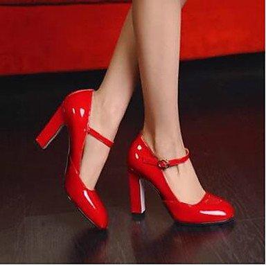 5 Talons Chaussures Cm Verni Blanc Femme Printemps White À 7 Décontracté Lvyuan ggx Cuir Rouge Confort wqx7Iq6ES