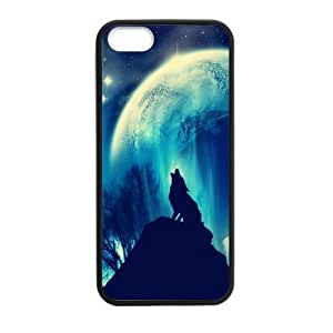 iPhone 5 5S Case,Howling Wolf And Moon Beautiful Starry Sky Of Night High Definition Wonderful Design Cover With Hign Quality Rubber Plastic Protection Case