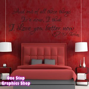 1Stop Graphics - Shop Ed Sheeran Wall Art Quote Sticker - I Love You Better  Now Song Lyrics - Colour: Lavendar - Size: Large