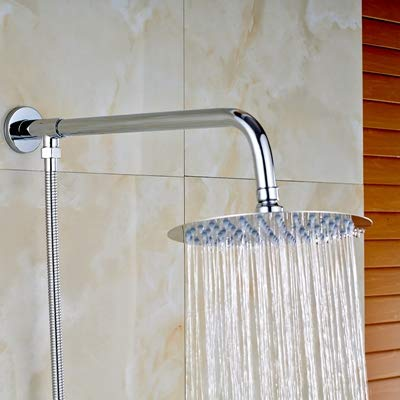 (Vintage Faucet and Accessories - Stylish Wall Mounted Chrome Finish Rainfall 8' Round Shower Head +Shower Arm+Hose - (Clear))