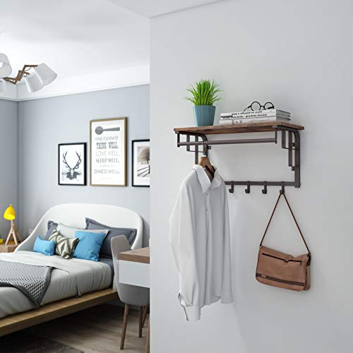 SONGMICS Vintage Coat Rack Shelf Wall Mounted, Coat Hooks Shelf with Hanging Rail, 5 Metal Removable Hooks and Storage Shelf for Entryway Hallway Bedroom Bathroom Living Room ULCR12AX by SONGMICS (Image #1)