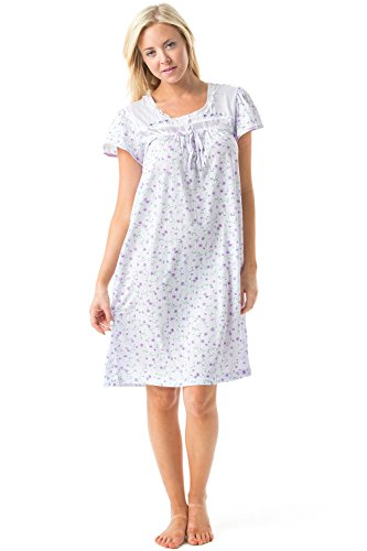 Casual Nights Women's Cap Sleeve Floral Nightgown - Purple - Medium -
