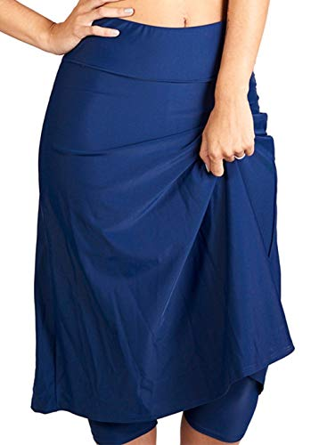 Ella Mae Modest Women's High Waist Knee Length Swim Skirt with Leggings (XS-XXXXL) Navy ()