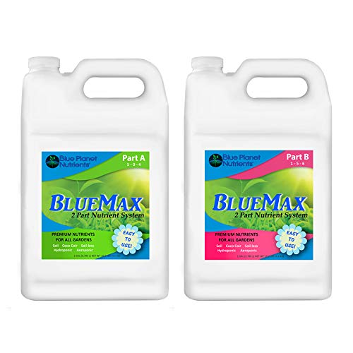 Blue Planet Nutrients BlueMax 2-Part Base Nutrients Gallon (128 oz Bottles) | Hydroponic Soil Coco Coir Soil-Less | Fertilizer for All Gardens | Best Plant Food | Gift for Gardener