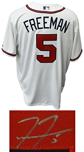 Freddie Freeman Signed Atlanta Braves White Majestic Athletic Replica Jersey by Schwartz Sports Memorabilia