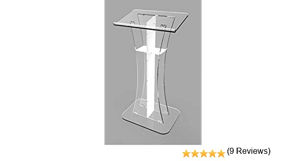 Fixture Displays Podium Clear Ghost Acrylic w  white Cross1803310 Easy  Assembly Required 1803