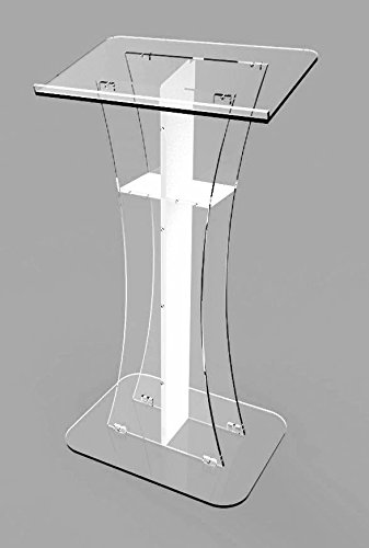 Fixture Displays Podium Clear Ghost Acrylic w / white Cross1803-310 Easy Assembly Required 1803-310 by FixtureDisplays