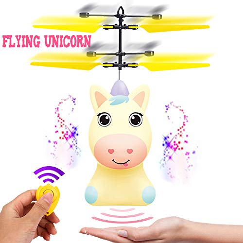 New Flying Horse - New Flying Unicorn Flying Horse Flying Ball RC Toys Drone Helicopter Hand Controlled Inductive with Remote Control Light Up Flying Fairy Toy USB Rechargeable Girls Boys Kids Unicorn Party Favors Gifts