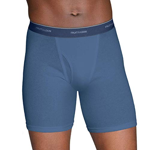 Fruit of the Loom Men's No Ride Up Boxer Brief 3 Pack (3 Pack - Colors May Vary, Large)