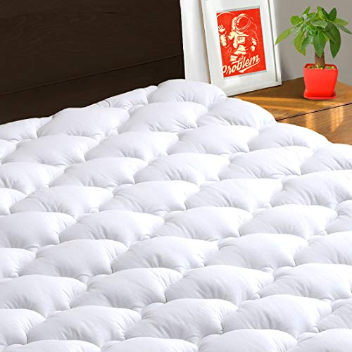 (TEXARTIST Mattress Pad Cover Queen, Cooling Mattress Topper, 400 TC Cotton Pillow Top with 8-21