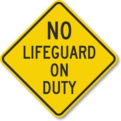 No Lifeguard On Duty Sign, 10'' x 10'' by SwimmingPoolSigns