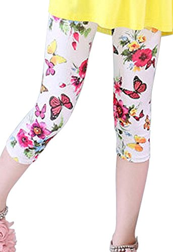 BOGIWELL Kids Girls Flower Printed Capris Leggings Tights Cropped Pants
