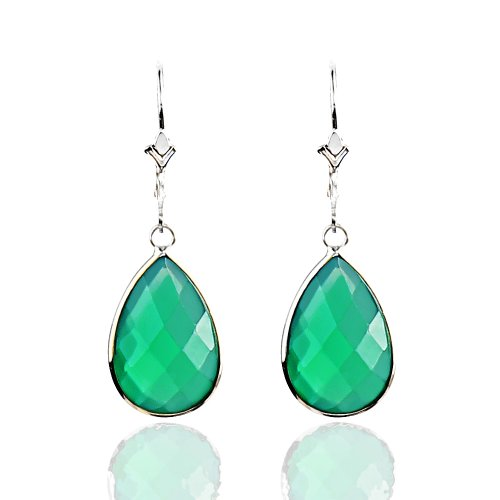 - 14K White Gold Handmade Earrings with Dangling Pear Shape Green Onyx