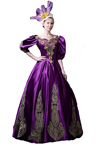 High-end Court Rococo Baroque Marie Antoinette Ball Dresses 18th Century Renaissance Historical Period Dress Gown for Women (XS:Height61-63 Chest32-33 Waist24-25, Purple)