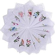 ALLURE 30pcs Women Floral Handkerchiefs Vintage Floral Embroidered Cotton Ladies Handkerchiefs