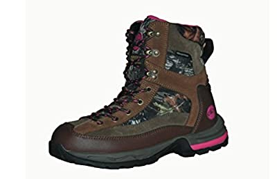 GWG Hunting Boots Girls with Guns Womans Waterproof Hunting/Hiking Boots 600Gram Camouflage/Leather with Pink Accents