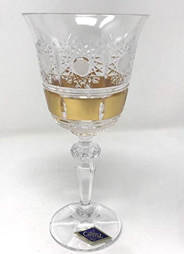BOHEMIAN CRYSTAL GLASS WINE GLASSES 8 oz./220 ml. SET of 6 GOLD PLATED HAND CUT VINTAGE LACE DESIGN STEM GOBLETS for WINES or WATER CLASSIC CZECH CRYSTAL GLASS