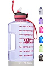 ETDW Gallon Water Bottle with Straw and Time Marker, 128OZ/74OZ BPA Free Huge Water Jug with Handle, Leakproof Pop Up Water Container for Daily Water Intake