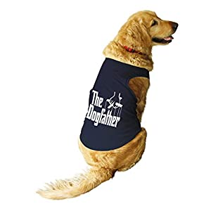Ruse. Pet The Dogfather Printed Round Neck Sleeveless Vest Tank T-Shirt/Tees for Dog Clothes Summer Apparel.