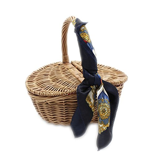 (WIEJDHJ Hand Basket Willow Bamboo Basket Beach Bag For Women Hollow Out Bamboo Handbags Women Bag Straw Bag Shopping Bag Brown)