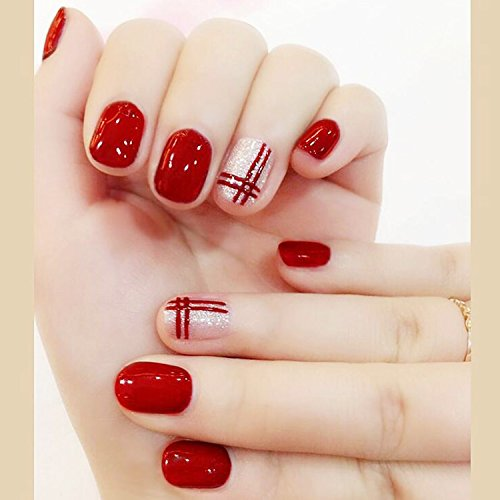 Bridalvenus 24Pcs/Set Bridal False Nails Set Full Cover Short Square Silver and Red Lines Fake Nail Tips with Design Press on Nails with Glue and Adhesive Tab for Women and ()