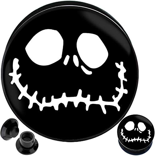 (MoDTanOiz 8 6 4 2 0 00 gauges to 30mm Nightmare Before Christmas Jack Skellington Halloween Plugs)
