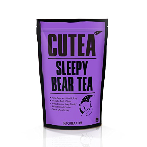 CUTEA Sleeping Tea is a Sleep Tea Helping with Stress Relief, Anxiety, and will Relax the Body & Mind | Herbal Tea with Chamomile, Tulsi, and Ginger Root - 28 Tea Bags