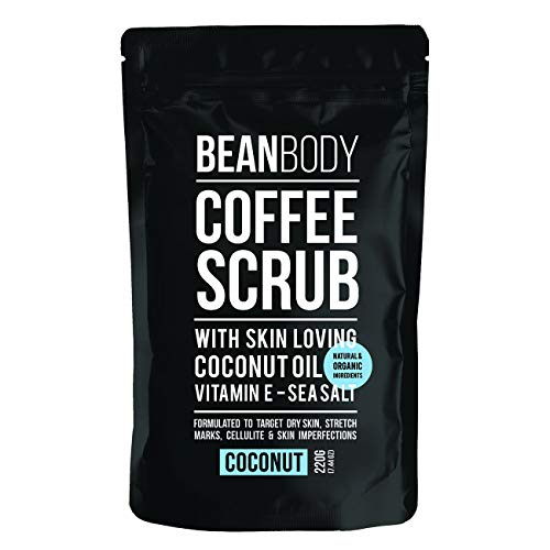 Mr. Bean Organic All Natural Coffee Bean Exfoliating Body Skin Scrub with Coconut Oil, Vitamin E, and Sea Salt - Coconut (Best Coffee Scrub For Cellulite)
