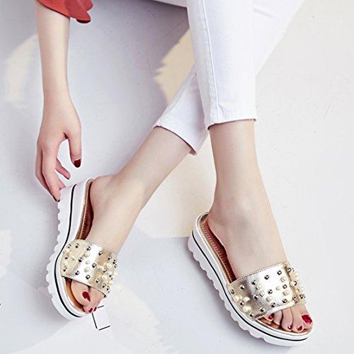 Keilabsatz Plateau Schuhe Bequem AIYOUMEI Perlen Sommer Sandalen Slipper mit Gold Offene Damen R1wqtwxB