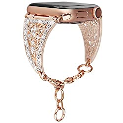 Chain Jewelry Cuff with Rhinestone For Apple Watch