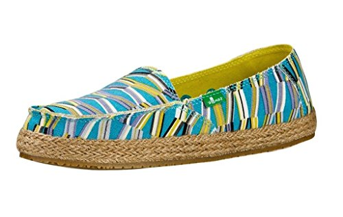 Sanuk Womens Funky Fiona Loafer Blue/Green Mod Geo Size 9