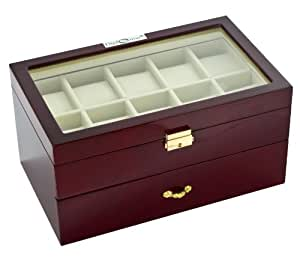 Diplomat 31-57714 Cherry Wood Finish with Clear Top and Cream Leather Interior 20 Watch Storage Case